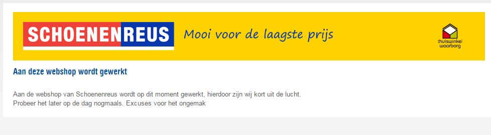 De banner die momenteel op Schoenenreus.nl staat.